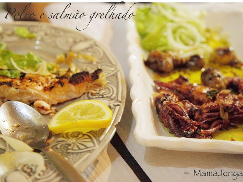 Грилованные осьминоги и лосось