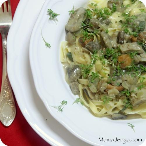 Сливочная паста с грибами рецепт
