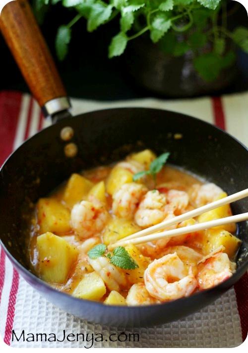 Креветки с манго и ананасами Рецепт с креветками