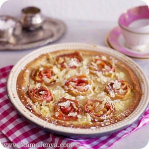 Пирог с яблочными розами и заварным кремом 2