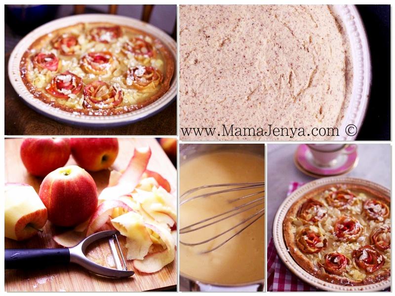 Пирог с яблочными розами и заварным кремом