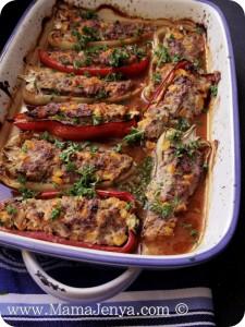 Фаршированные перцы мясом, рикоттой и овощами рецепт с фото