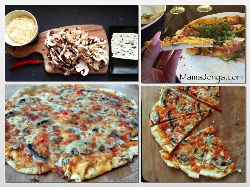 Пицца с грибами и сыром с плесенью