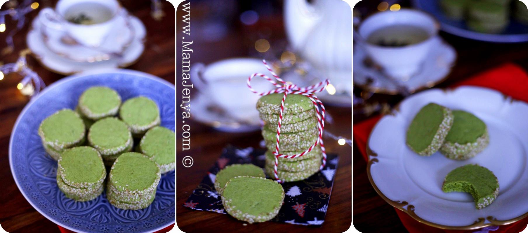 Печенье с зеленым чаем мача и кунжутом