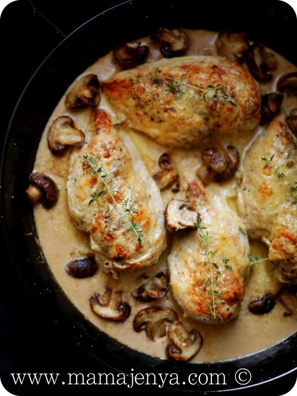 Курица с грибами и сыром в сливочном соусе рецепт с фото