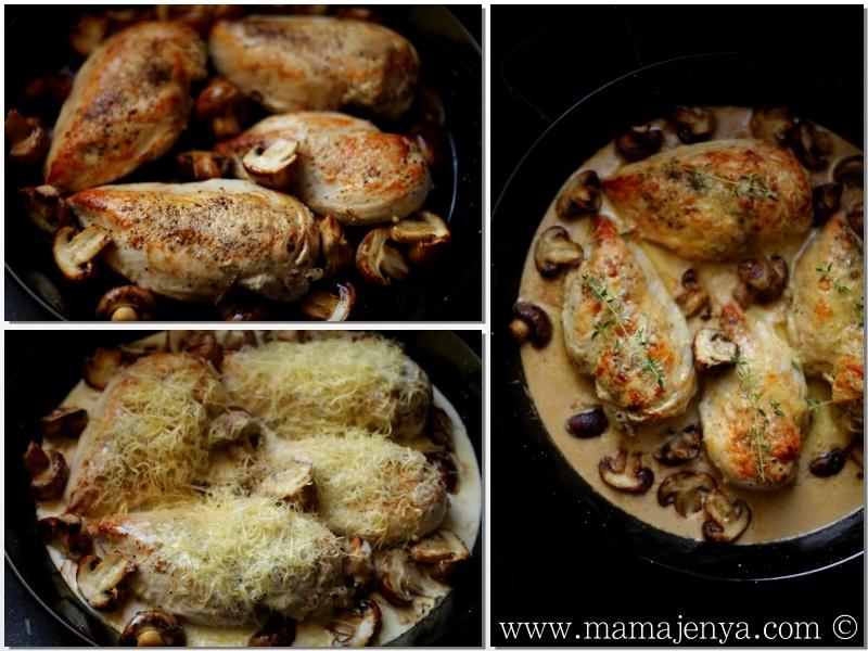 Курица с грибами и сыром в сливочном соусе